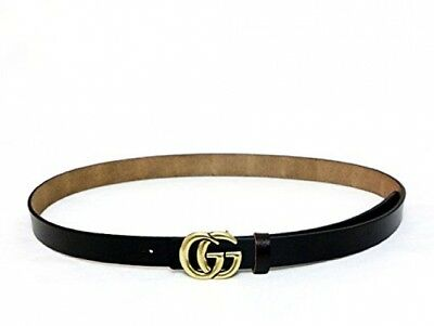 Genuine Leather Thin Belts Fashion Womens GGucci Logo Pattern For Jeans BLACK
