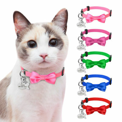 Safety Personalized Cat Collars Breakaway Bowknot Dog Kitten Collar with Bell
