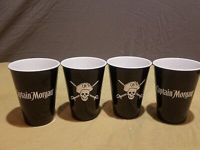 Lot of 4 NEW Captain Morgan Rum Hard Plastic Solo Cups Black Pirate Logo