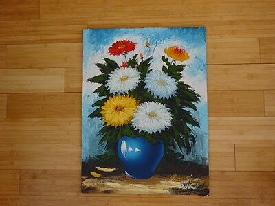 Vintage Spring Flowers Oil Painting Original Signed artist wood canvas decor art