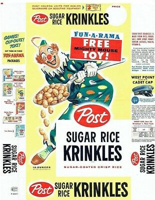 Post Sugar Rice Krinkles Original 1958 Flat featuring Mighty Mouse! Really nice!