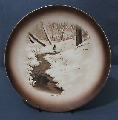 Antique Harker Pottery Winter Plate Rabbit in the snow. Brown Sepia Coloring