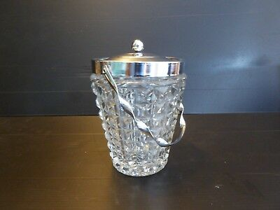 Vintage Glass Ice Bucket with Metal Lid 14cm Tall