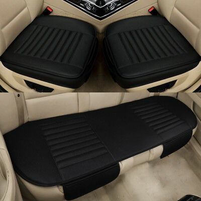 Leather Car Front Rear Back Seat Black Cover/protector Cushion Driver Mat Pad Pu
