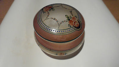 Vintage Mignon Hand Pained Pink  Glass Powder Trinket Box Jar