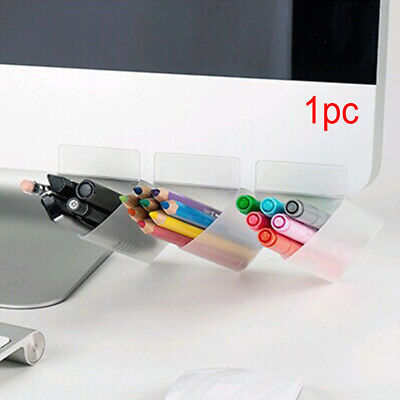 Stick on Desktop Plastic Desk Organizer Office Pen Pencil Holder Makeup Storage