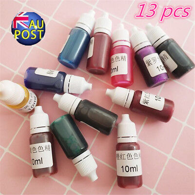 13x 10ml Coloring Dye Colorant 15 Color Mix Pigment Craft Epoxy UV Resin DIY MN