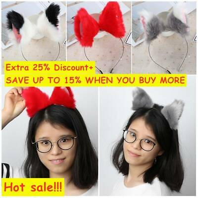 Women Festival Party Cat Fox Fur Ears Headband Anime Cosplay Costume Hair Clip