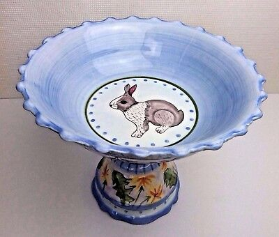 """Meadow Bunny Footed Compote Zrike Danna Cullen 8"""" Tall Spring Rabbit Easter"""