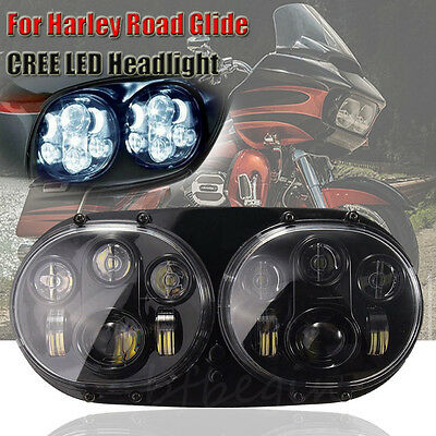 "LED Headlight 5-3/4"" Projector Lamp For 1998-2013 Harley Road Glide"