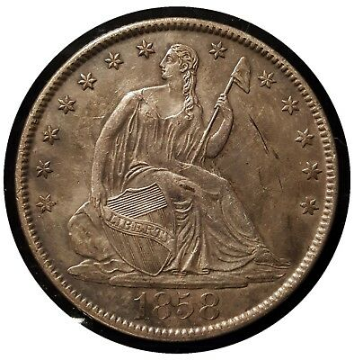 1858 0 SEATED LIBERTY HALF DOLLAR ORIGINAL AU + Nice PS8187