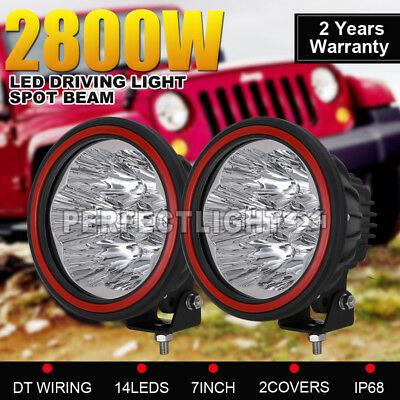 2800w 7inch LED Cree Black Driving Lights Round Spotlights Offroad 4x4 4WD HID