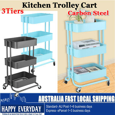 3 Tier Kitchen Trolley Cart Carbon Steel Storage Shelf Wheels Rack Multipurpose