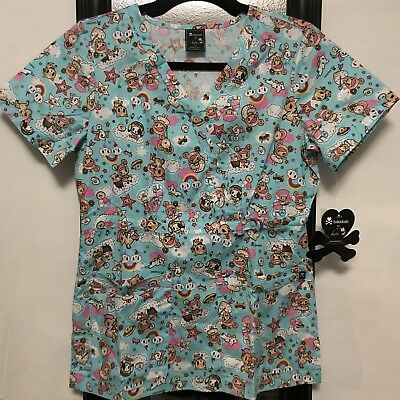 Koi By Tokidoki Women's Scrub top Stretch Luna Cotton size XS, S, M, LG or XL