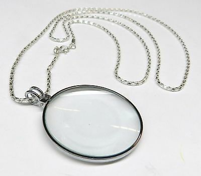 """5X Necklace Magnifier 1-3/4"""" Glass Lens 36"""" Silver Chain MONOCLE SPECTACLE"""