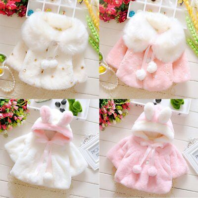 Baby Girl Winter Warm Cape Toddler Coat Cloak Jacket Fur Outerwear Clothes