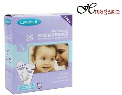 Lansinoh Pre-Sterilised Breastmilk Baby Breast Milk Storage Bags 1 Pack 25