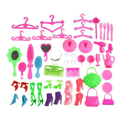 40Pcs/set Shoes Bags Glasses Hangers Hair Clip For Barbie Doll Child Toy Supreme