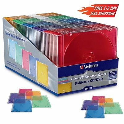 NEW! Verbatim 50-Ct Slim DVD Storage Cases Plastic Jewel CD Case Assorted Colors