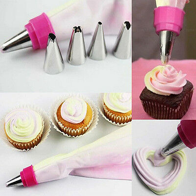 EG_ 2 Colors Pastry Cake Decorating Icing Piping Striper Bag with 5 Nozzles Hand