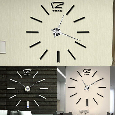 Modern Home DIY Large 3D Number Mirror Wall Sticker Art Clock Living Room Decor
