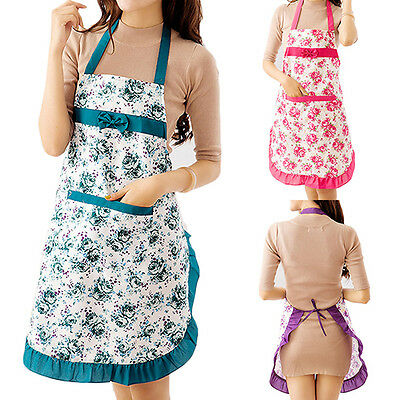 EG_ Women Lady Dress Restaurant Home Kitchen Cooking Apron Bib Floral Pattern Sh
