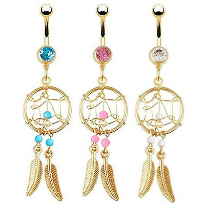 EG_ Gold-tone Dream Catcher Feather Beads Belly Button Navel Ring Barbell Precio