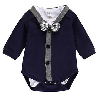 EG_ Fahion Cardigan Romper Bowknot Toddler Baby Boys Girls Autumn Warm Outfit Mo