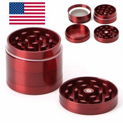 Tobacco Herb Spice Grinder 4 Piece Herbal Alloy Smoke Metal Chromium Crusher RED