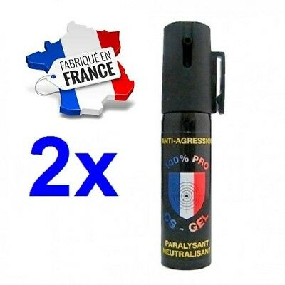 Bombe Lacrymogene Professional pack 2 x Spray de défense GAZ CS + GEL 25 ml
