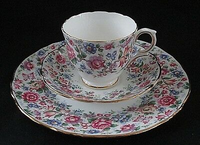 Vintage Crown Staffordshire Plate Saucer Teacup SPRINGTIME CHINTZ  Bone China