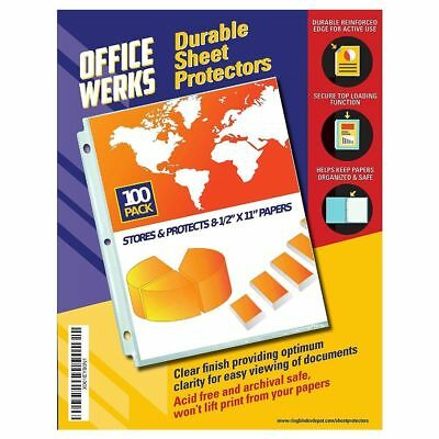 100 Clear Plastic Poly Sheet Page Protectors ACID Free Document Sleeves Office