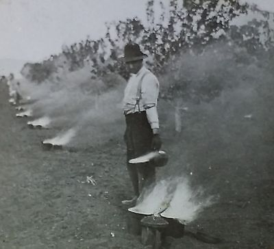Smudge Fires in Pear Orchard, California, Antique Magic Lantern Glass Slide