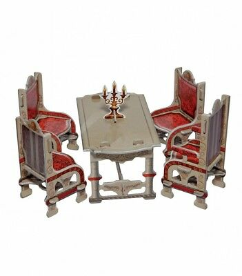 Dining Room (Gray) and Home Decor Dollhouse Furniture Dolls Cardboard Model Kit
