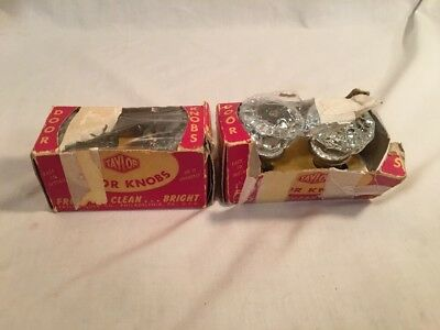 Vintage Taylor Clear Glass Door Knobs No. G 30 in Original Box Two Sets Unused