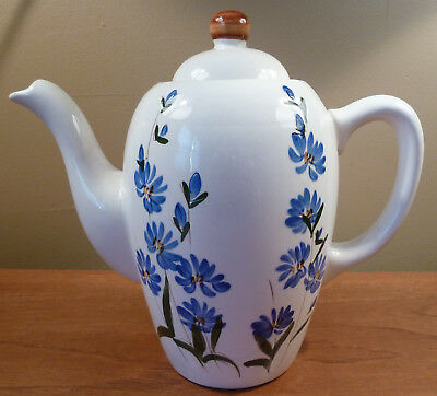 Hard-to-find Stangl CHICORY large coffee pot - blue floral on glossy white