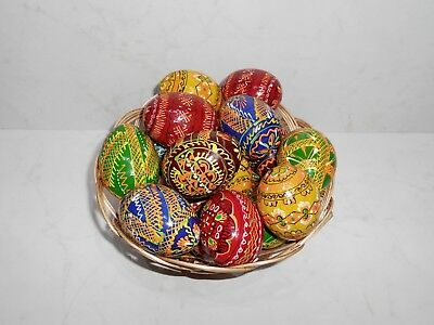 "Assorted Colorful Wooden Painted Ukrainian Easter Eggs Pysanky Pysanka 2.1/2"" #1"