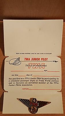 Vintage TWA Trans World Airlines Junior Pilot Wings Pin with Certificate Card