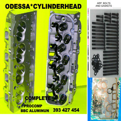 2 NEW GM Procomp Bbc Chevy Alum  Cylinder Heads 396 427 454 Arp Bolts &2  Gaskets
