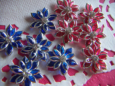 Rhinestone Embellishment Findings Flower Silver Plated Royal Blue or Red 5pcs