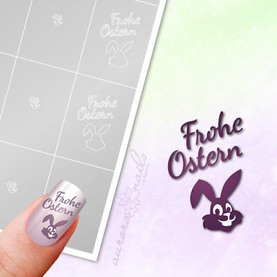Schablonen Airbrush + Nailart O055 Frohe Ostern Hase Osterhase Easter klebend