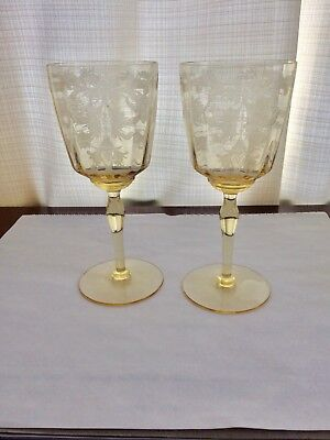 Lot Of Two Very Rare Tiffin Byzantine 7 1/2 Wine Goblets Gorgeous