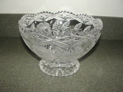 """#1 Vintage Crystal (?) """"etched Flower And Leaves"""" Candy Dish Bowl"""