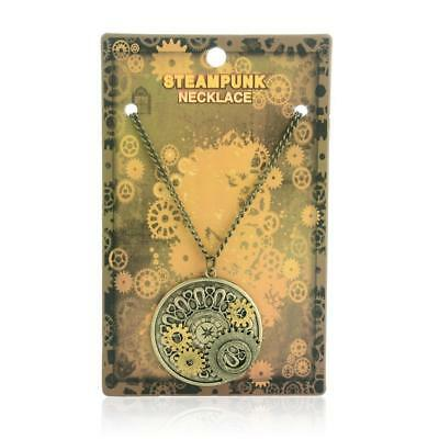 Watch Gears Necklace Steampunk Pendant Charms Chain Movements Punk Womens
