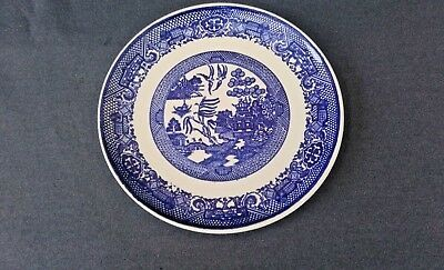 """Vintage BLUE WILLOW  DINNER Luncheon PLATE 9 1/8"""" No Mark"""
