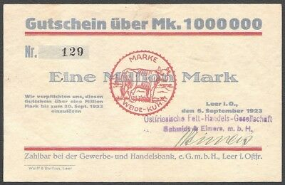 Notgeld Geldschein Leer 1 Million Mark 1923