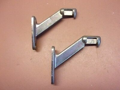 Vtg Pair of Aluminum Stair Rail Handrail Railing Supports No Straps Silver Color