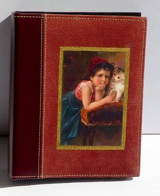 Vintage Child & Kitten Image On Wine Leather & Suede Album Holds 200+ Pics, USA