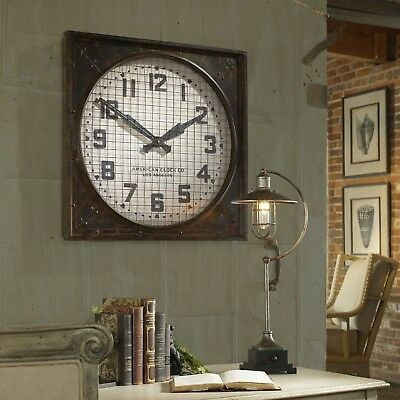 """Xxl 26"""" Forged Aged Metal Wall Clock Rustic Warehouse Industrial Uttermost"""