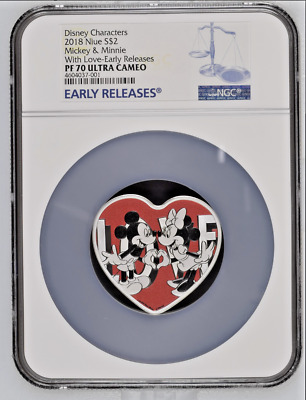 2018 Disney With Love - Heart Shaped Coin - Ngc Pf70 Early Releases Ogp & Coa